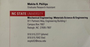 My Former NC State Business Card